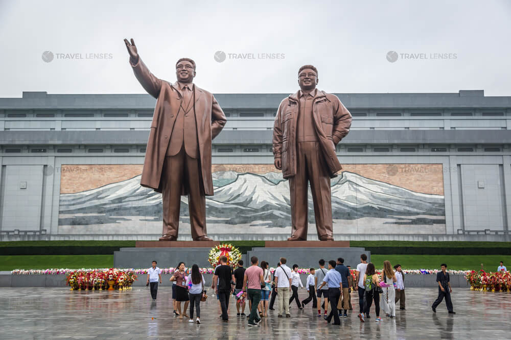 Statues of North Korean leaders in Pyongyang Square, North Korea