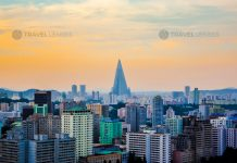 The skyline view of Ryugyong Hotel, an unfinished 105-story pyramid-shaped skyscraper & the first tall building in Pyongyang, North Korea